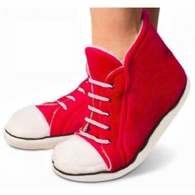Rode sneaker pantoffels hoog voor dames