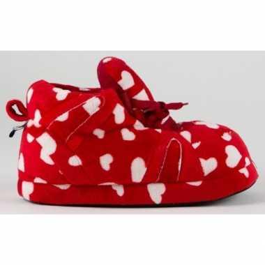 Sneaker pantoffels dames hartjes rood