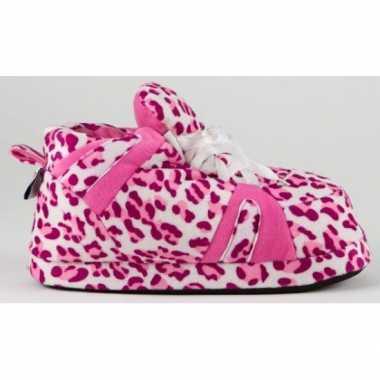 Sneaker pantoffels dames luipaard roze