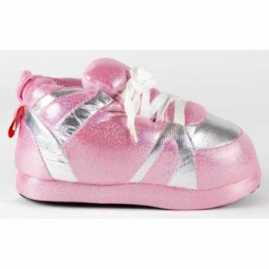 Sneaker pantoffels dames roze zilver