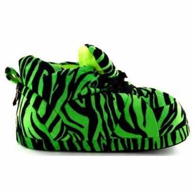 Sneaker pantoffels dames tijger groen