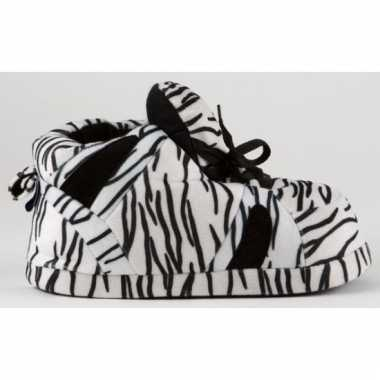 Sneaker pantoffels dames zebra zwart/wit