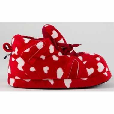 Sneaker pantoffels meisjes hartjes rood