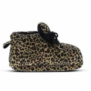 Sneaker pantoffels meisjes luipaard bruin