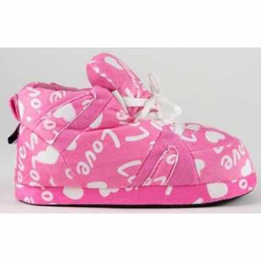 Sneaker pantoffels meisjes roze love