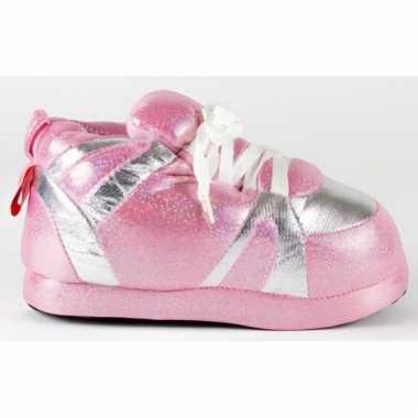 Sneaker pantoffels meisjes roze zilver