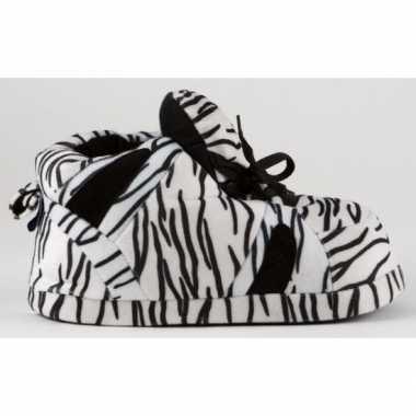 Sneaker pantoffels meisjes zebra zwart wit