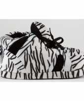Sneaker pantoffels dames zebra zwart wit