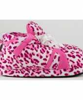 Sneaker pantoffels meisjes luipaard roze